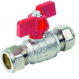 Brass Ball Valve Compression Ends - Size 22MM