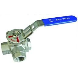 "1/4 BSP S.S 3-WAY ""L"" PORT BALL VALVE"