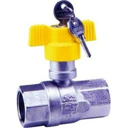 Brass Ball Valve - With Built In Locking Device - Size 1/2""