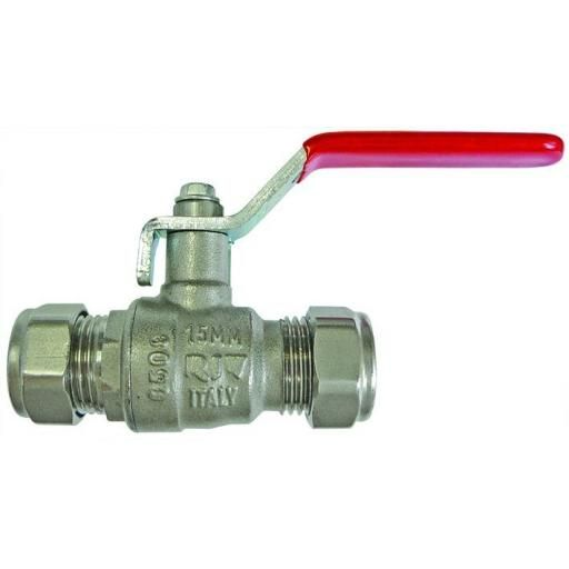 15mm Compresson End Tube To Tu be - Lever Handle(Red) Ball V