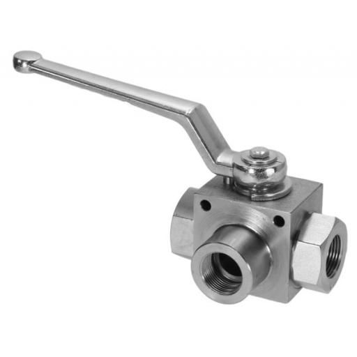 "1/4"" BSPP 3 Way L-Port Hydraulic Ball Valve"