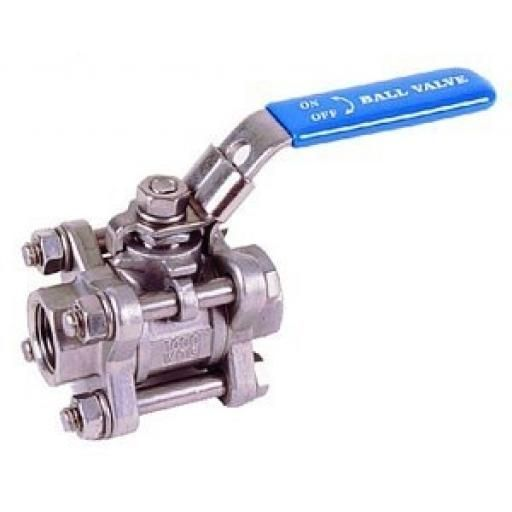 Stainless Steel Ball Valve - Three-Piece - Size 1/4""