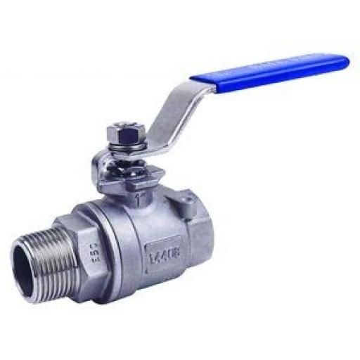 Stainless Steel Ball Valve - T wo-Piece Male/Female - Size 1/